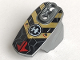 Part No: 90639pb021  Name: Hero Factory Armor with Ball Joint Socket - Size 5 with Red Arrows, Black and Gold Chevrons, and Hero Factory Logo Pattern