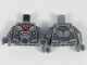 Part No: 973pb3022c01  Name: Torso Plate Armor, Red and Orange Window with Cyborg Cog, Red and Orange Lights Pattern / Dark Bluish Gray Arms / Dark Bluish Gray Hands