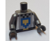 Part No: 973pb3884c01  Name: Torso Pixelated Black and Flat Silver with Blue and Pearl Gold Shield Pattern / Flat Silver Arms / Dark Bluish Gray Hands