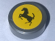 Part No: 98138pb084  Name: Tile, Round 1 x 1 with Black Ferrari Prancing Horse Logo on Yellow Background Pattern (Sticker) - Set 10248