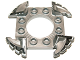 Part No: 98343pb01  Name: Ring 4 x 4 with 2 x 2 Hole and 4 Serrated Ends with Black and White Pattern (Ninjago Spinner Crown)