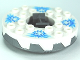 Part No: bb0549c06pb01  Name: Turntable 6 x 6 Round Base Serrated with White Top and White Heads on Medium Blue Ice Shards Pattern (Ninjago Spinner)