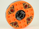 Part No: bb0549c07pb01  Name: Turntable 6 x 6 Round Base Serrated with Orange Top and Dark Red Faces on Dark Tan and Dark Gray Pattern (Ninjago Spinner)