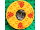 Part No: bb0549c09pb01  Name: Turntable 6 x 6 Round Base Serrated with Bright Light Orange Top and Red Flames and Lion Heads Pattern (Ninjago Spinner)