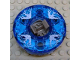 Part No: bb0549c11pb01  Name: Turntable 6 x 6 Round Base Serrated with Trans-Dark Blue Top with Electric Bolts Pattern (Ninjago Spinner)