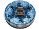 Part No: bb0549c14pb01  Name: Turntable 6 x 6 Round Base Serrated with Trans-Medium Blue Top with Ice Shards Pattern (Ninjago Spinner)