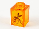 Part No: 3005pb041  Name: Brick 1 x 1 with Yellow Streaks and Black Mosquito in Amber Pattern