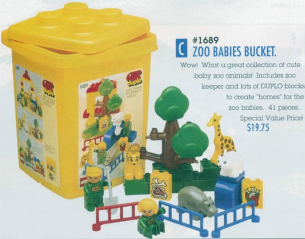 Bricklink Set 1689 1 Lego Zoo Babies Bucket Duplobasic Set
