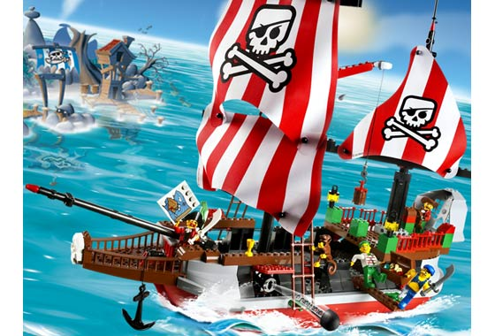 Lego Schiff Piraten Segel weiß-rote Streifen 7075