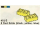 Set No: 418.2  Name: 8 Stud Bricks (black, yellow, blue)