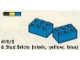 Set No: 419.2  Name: 6 Stud Bricks (black, yellow, blue)