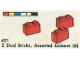 Set No: 421  Name: 2 Stud Bricks, Assorted Colours (6)