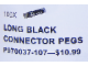 Set No: 970037  Name: Long Black Connector Peg (Pack of 100)