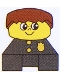 Minifig No: 2327pb36  Name: Duplo 2 x 2 x 2 Figure Brick, Black Base with Police Pattern, Yellow Head with Freckles, Brown Male Hair