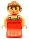 Minifig No: 31181pb02  Name: Duplo Figure, Female Lady, Red Dress, Blush, Ponytail
