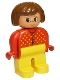 Minifig No: 4555pb008  Name: Duplo Figure, Female, Yellow Legs, Red Sweater with Yellow V Stitching, Brown Hair, Turned Up Nose
