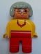 Minifig No: 4555pb013a  Name: Duplo Figure, Female, Red Legs, Yellow Top with Red Necklace, Gray Hair, Glasses, no White in Eyes Pattern