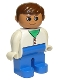 Minifig No: 4555pb033  Name: Duplo Figure, Male, Blue Legs, White Two Button Cardigan, Brown Hair