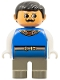 Minifig No: 4555pb054  Name: Duplo Figure, Male, Dark Gray Legs, Blue Top with Gold Necklace and Belt, Moustache (King)