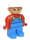 Minifig No: 4555pb076  Name: Duplo Figure, Male, Blue Legs, Red Top with Blue Overalls, Construction Hat White, Turned Up Nose