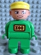 Minifig No: 4555pb079  Name: Duplo Figure, Male, Green Legs, Green Top, Yellow Cap (Zoo Keeper)