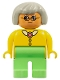 Minifig No: 4555pb084  Name: Duplo Figure, Female, Medium Green Legs, Yellow Blouse with Collar, Gray Hair, Glasses