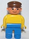 Minifig No: 4555pb086  Name: Duplo Figure, Male, Blue Legs, Yellow Top, Brown Cap, with White in Eyes Pattern