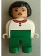 Minifig No: 4555pb119  Name: Duplo Figure, Female, Green Legs, White Blouse with Red Heart Buttons & Collar, Black Hair, Asian Eyes, Lips