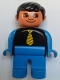 Minifig No: 4555pb131a  Name: Duplo Figure, Male, Blue Legs, Black Top with Yellow Tie,Blue Arms, Black Hair, no White in Eyes Pattern