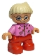 Minifig No: 47205pb006  Name: Duplo Figure Lego Ville, Child Girl, Red Legs, Dark Pink Top With Flowers, Light Blond Hair With Ponytail, Glasses