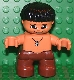 Minifig No: 47205pb019  Name: Duplo Figure Lego Ville, Child Boy, Reddish Brown Legs, Stone Necklace Pattern, Black Hair (Caveman)