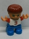 Minifig No: 47205pb020  Name: Duplo Figure Lego Ville, Child Boy, Blue Legs, White Top with Red '3' Pattern, Reddish Brown Hair