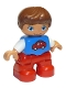 Minifig No: 47205pb031  Name: Duplo Figure Lego Ville, Child Boy, Red Legs, Blue Top with Red Car Pattern, Reddish Brown Hair