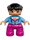 Minifig No: 47205pb035  Name: Duplo Figure Lego Ville, Child Girl, Magenta Legs, Medium Blue Jacket over Shirt with Flower, Black Pigtails