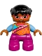 Minifig No: 47205pb046  Name: Duplo Figure Lego Ville, Child Girl, Dark Pink Legs, Orange Top, Black Hair