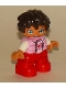 Minifig No: 47205pb057  Name: Duplo Figure Lego Ville, Child Girl, Red Legs, Bright Pink Top with Heart Pattern, White Arms, Reddish Brown Hair