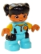 Minifig No: 47205pb067  Name: Duplo Figure Lego Ville, Child Girl, Medium Azure Diving Suit, Yellow Arms, Black Hair with Ponytails