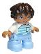 Minifig No: 47205pb068  Name: Duplo Figure Lego Ville, Child Boy, Bright Light Blue Legs, White Top with Medium Azure and Light Aqua Stripes, White Arms, Dark Brown Hair