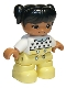 Minifig No: 47205pb069  Name: Duplo Figure Lego Ville, Child Girl, Bright Light Yellow Legs, White Top with Black Hearts, Black Hair with Pigtails, Medium Nougat Skin