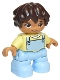 Minifig No: 47205pb073  Name: Duplo Figure Lego Ville, Child Girl, Bright Light Blue Legs, Bright Light Yellow Top, Dark Brown Hair