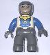 Minifig No: 47394pb007  Name: Duplo Figure Lego Ville, Male Castle, Dark Bluish Gray Legs, White Chest, Blue Arms, Dark Bluish Gray Hands