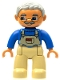 Minifig No: 47394pb011b  Name: Duplo Figure Lego Ville, Male, Tan Legs, Blue Top with Tan Overalls Bib, Glasses, Light Bluish Gray Hair