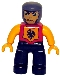 Minifig No: 47394pb012  Name: Duplo Figure Lego Ville, Male Castle, Black Legs, Red Chest, Bright Light Orange  Arms, Bright Light Orange Hands