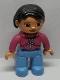Minifig No: 47394pb015a  Name: Duplo Figure Lego Ville, Female, Medium Blue Legs, Magenta Top, White Zipper, Black Hair, Brown Eyes