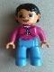 Minifig No: 47394pb015b  Name: Duplo Figure Lego Ville, Female, Medium Blue Legs, Magenta Top with White Drawstring, Black Hair, Brown Eyes
