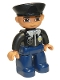 Minifig No: 47394pb016  Name: Duplo Figure Lego Ville, Male Police, Black Hat, Light Nougat Head and Hands, Brown Eyes, Black Shirt with Badge, Dark Blue Legs