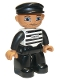 Minifig No: 47394pb035  Name: Duplo Figure Lego Ville, Male Prisoner, Black Cap, Light Nougat Head and Hands, Black and White Striped Shirt with '62019', Black Legs