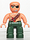 Minifig No: 47394pb088  Name: Duplo Figure Lego Ville, Male Pirate, Dark Green Legs, Flesh Top with Strap and Dynamite, Bald Head, Eyepatch