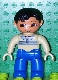 Minifig No: 47394pb103  Name: Duplo Figure Lego Ville, Male, Blue Legs, Tan Pullover with Buttons and Stripes, Black Hair, Brown Eyes, Tan Hands