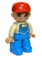Minifig No: 47394pb115  Name: Duplo Figure Lego Ville, Male, Blue Legs, Tan Top with Blue Overalls, Red Baseball Cap